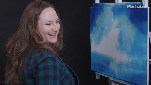 Comedian Katie Hartman paints 'Doo-Doo Island' and insists that Cher did it — The Bob Ross Challenge