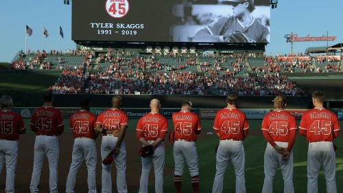 Angels fans get emotional following combined no-hitter celebrating Tyler Skaggs
