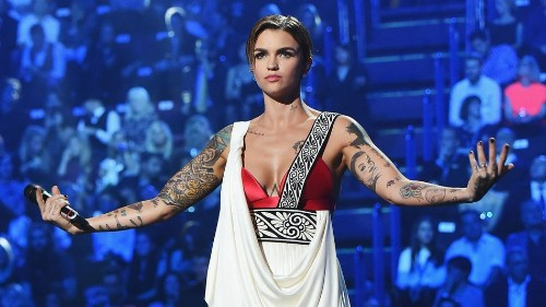 Ruby Rose blazed the EMAs with a fire gun and badass attitude