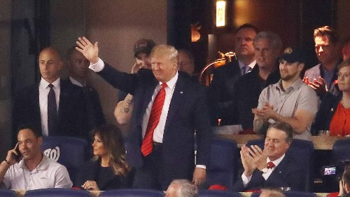 Watch the Moment Trump Realizes He's Getting Booed at a Washington Nationals Home Game