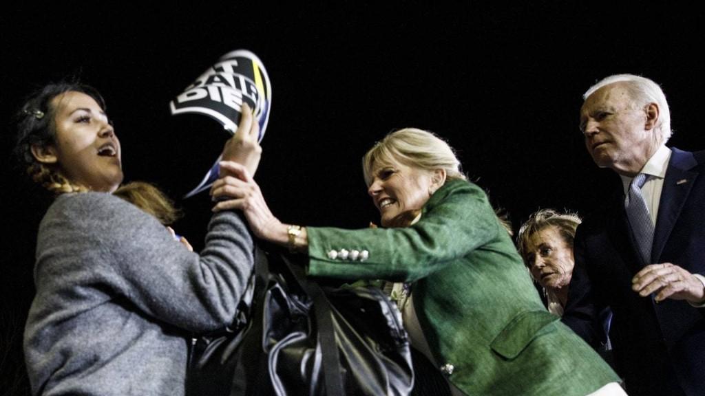 Watch Dr. Jill Biden Wrestle Away an Animal-Rights Protester at Biden's Victory Speech