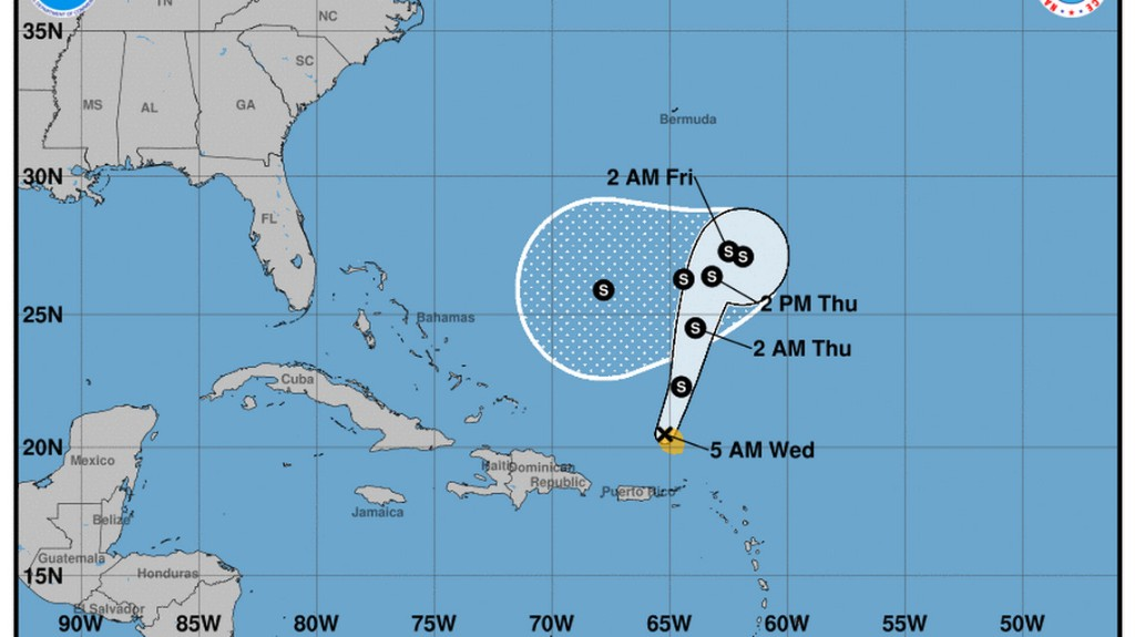 Tropical Storm Karen crosses Puerto Rico. It could turn west over the weekend
