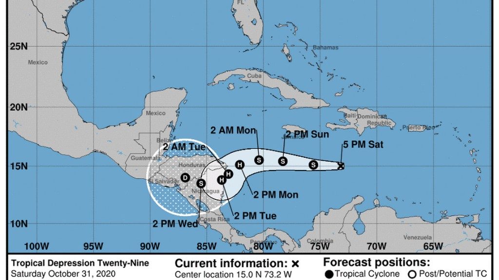 A new tropical depression formed in the Caribbean. It could become Tropical Storm Eta