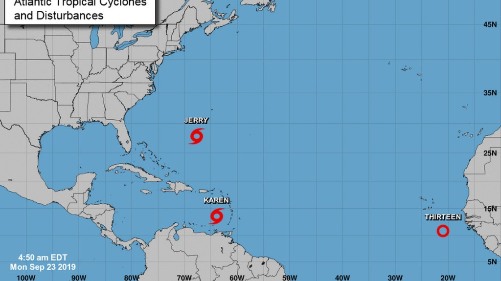 Tropical Storm Karen heading toward Puerto Rico and the Virgin Islands