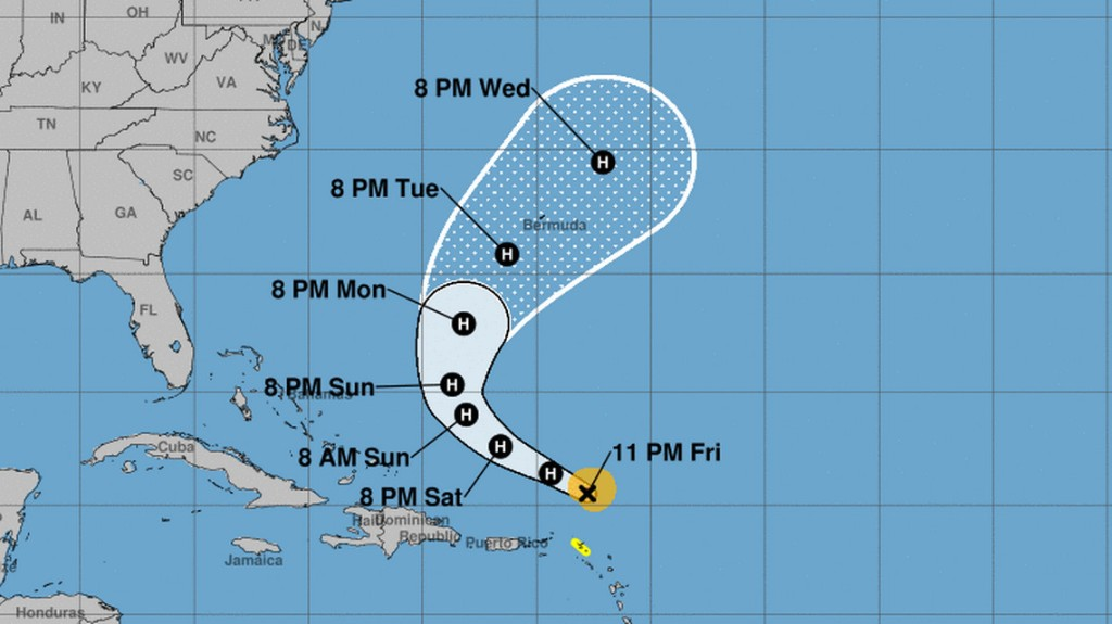 Hurricane Jerry sends rain and waves to Leeward Islands as it continues on ocean path