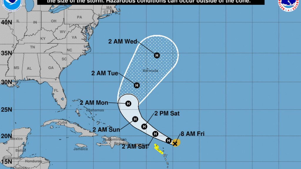 Hurricane Jerry forms in the Atlantic, but its predicted path still keeps it out to sea