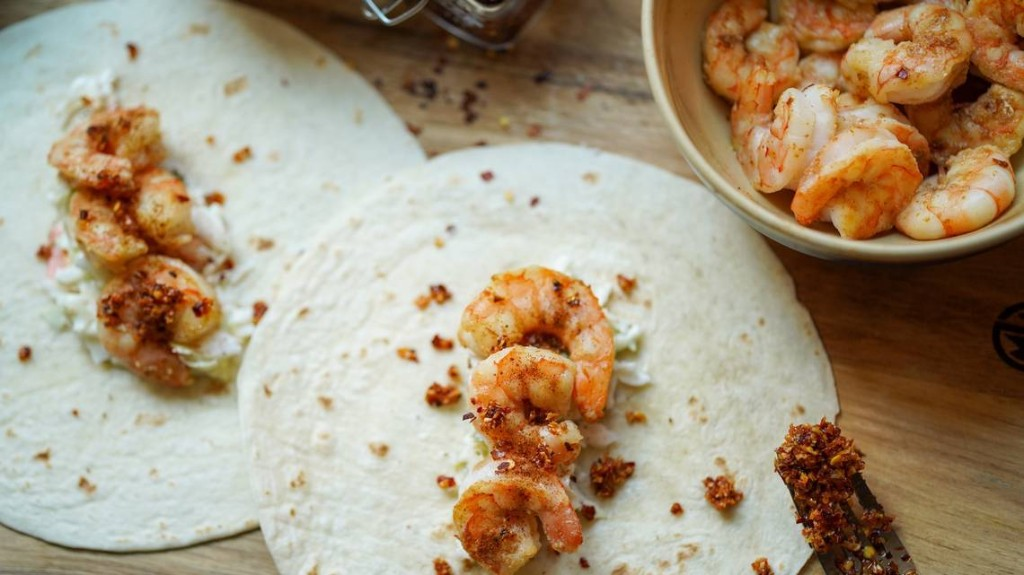 Make life a beach with spicy shrimp tacos and tangy slaw