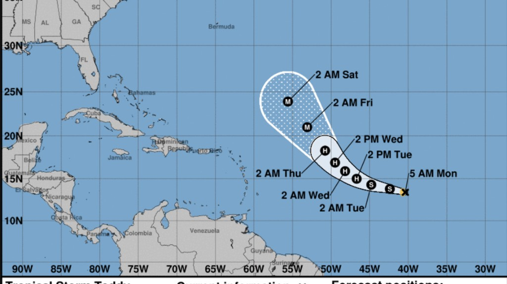 Tropical Storm Teddy has formed and is forecast to 'become a powerful hurricane'