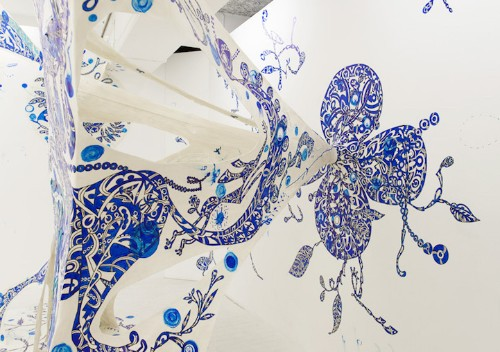 Intricately Hand-Painted Installation Stretches Across Gallery