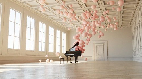 Elegant Installation Visualizes Music as Pastel Pink Bubbles