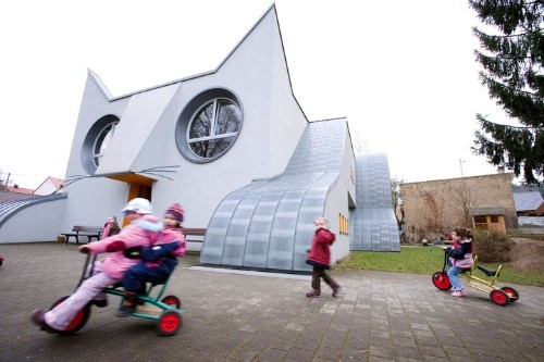 German Kindergarten Designed as a Giant Cat