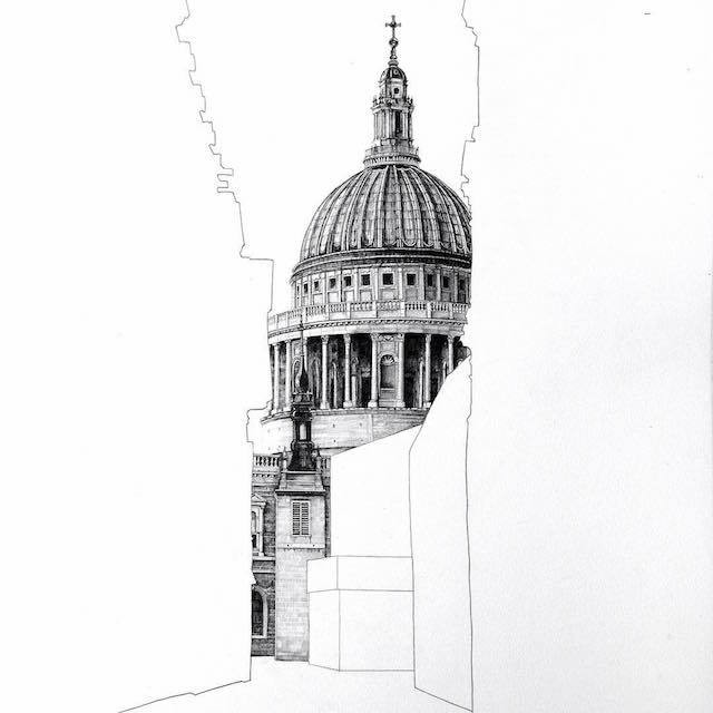 Gorgeous Architectural Drawings Hidden Behind Empty Silhouettes of Other Buildings