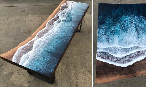 Brilliant Wood and Resin Table Brings Ocean Shores Indoors