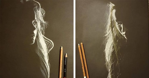 Artist Only Draws the Light Cast on Women in These Stunning Charcoal and Pastel Portraits on Black Paper