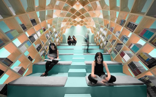 Cocoon-Like Bookshelf Provides a Tranquil Space for Readers to Get Lost in Great Stories