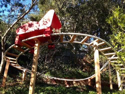 Awesome Dad Builds Backyard Roller Coaster for His Two Kids