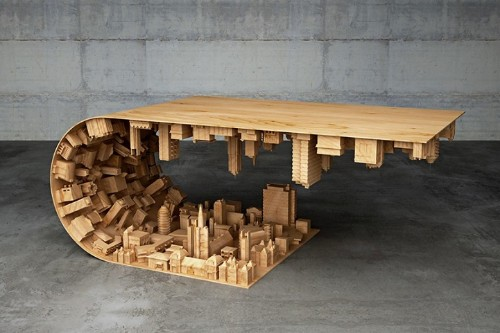 """Inception"" Coffee Table Defies Gravity and Suspends Cityscape in Mid-air"