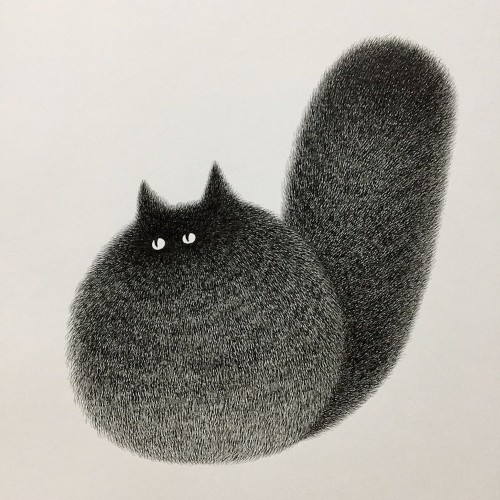 Fluffy Black Cats Adorably Illustrated as Expressive Balls of Fur