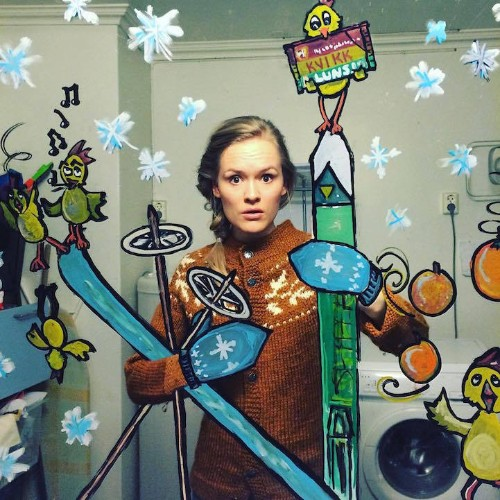 Artist Creates Doodles on Mirrors to Turn Bathroom Selfies into Imaginative Adventures