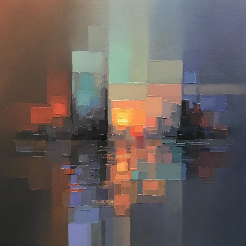 Energetic Cityscapes Recreated as Pixelated Palette Knife Paintings