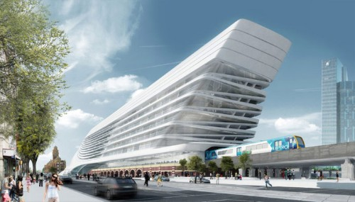 Melbourne's Sleek Transportation Center by Zaha Hadid