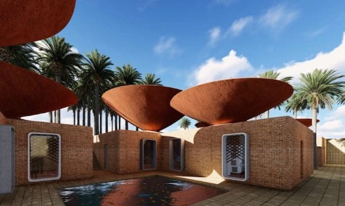 Ingenious Bowl-Shaped Roof Collects Rainwater to Provide Natural Cooling