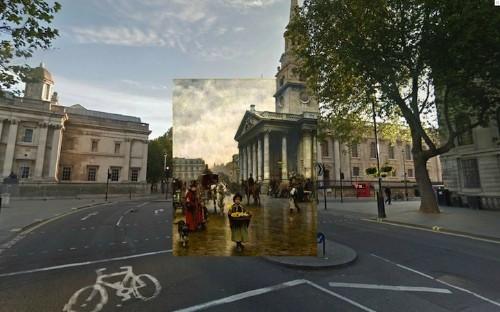 Historic London Paintings Layered Atop Contemporary Photos