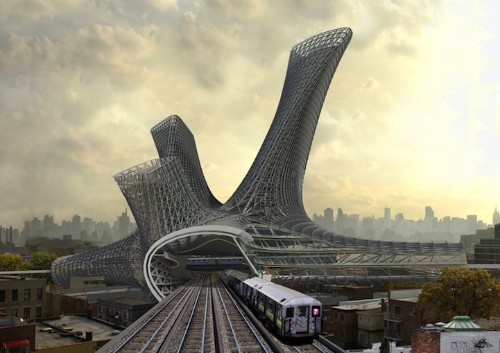 Dynamic Residential Buildings Proposed Above Urban Transportation Hubs