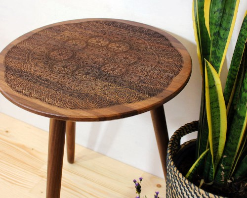 Intricately Engraved Tables Made with Traditional Wood Burning Techniques