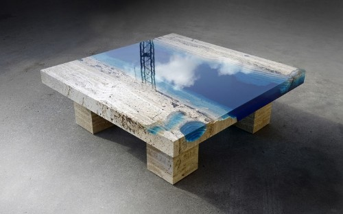 New Marble and Resin Coffee Table Captures the Soothing Beauty of a Blue Lagoon