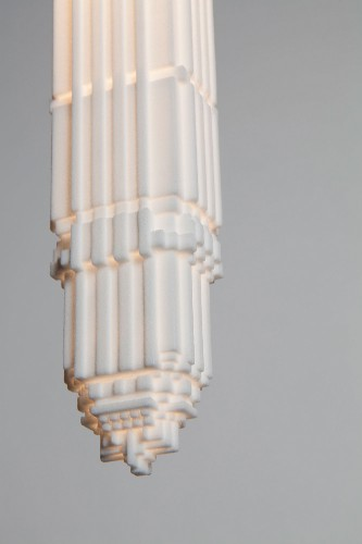 3D-Printed Bulbshades Inspired by Art Deco-Style Skyscrapers