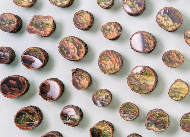 Beautiful Paintings on Fallen Tree Logs Mirror Their Natural Origins