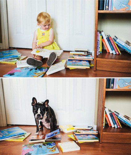 Little Girl and Her Dog Pose Identically for Fun Lookalike Portraits
