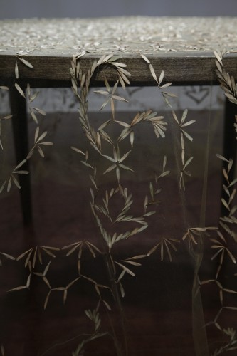 Intricately Stitched Tablecloth Delicately Formed with Seeds