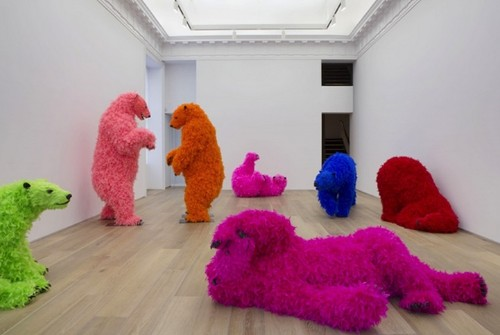 Polar Bears in Fluorescent-Colored Feathers Frolick in New York