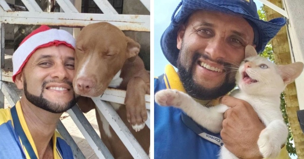Brazilian Mailman Takes Selfies With Every Adorable Dog and Cat Who Live Along His Route