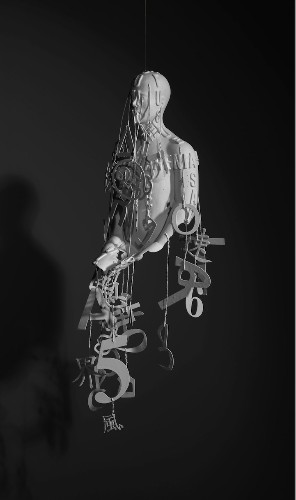 Suspended Sculptures of Incomplete, Typographic Men