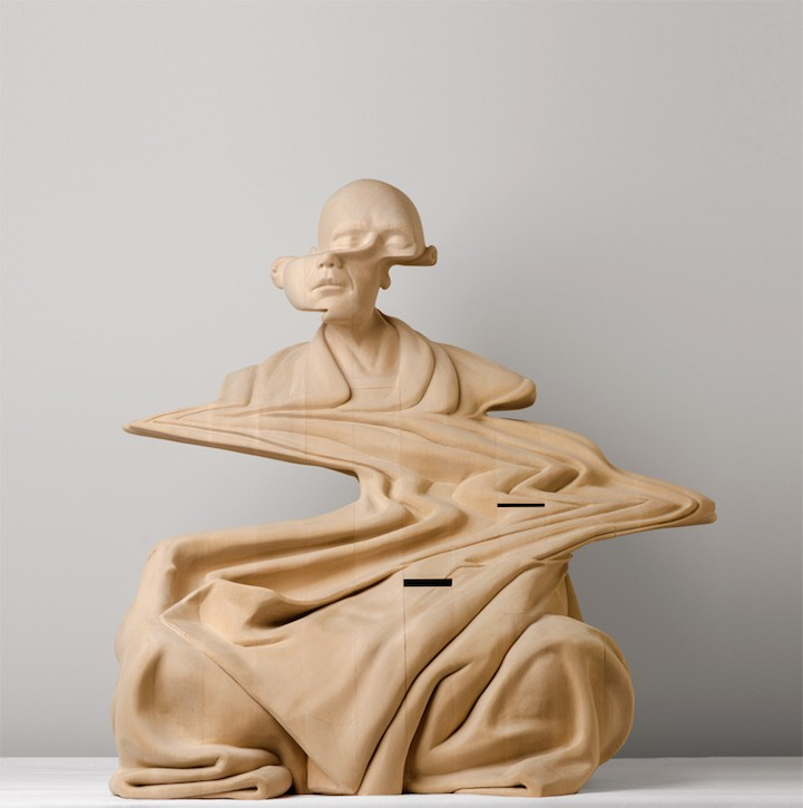 Hand-Carved Wooden Sculpture of a Monk Distorted by Glitches