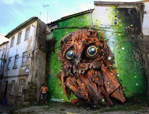 Impressive 3D Street Art Created with Recycled Materials