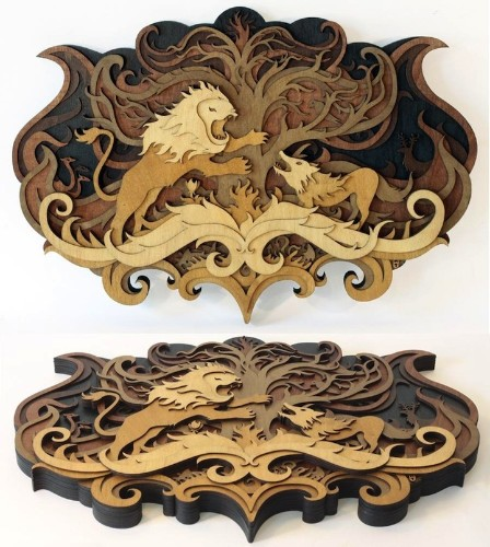 Amazingly Detailed Illustrations Transformed Into Laser Cut Wood Designs