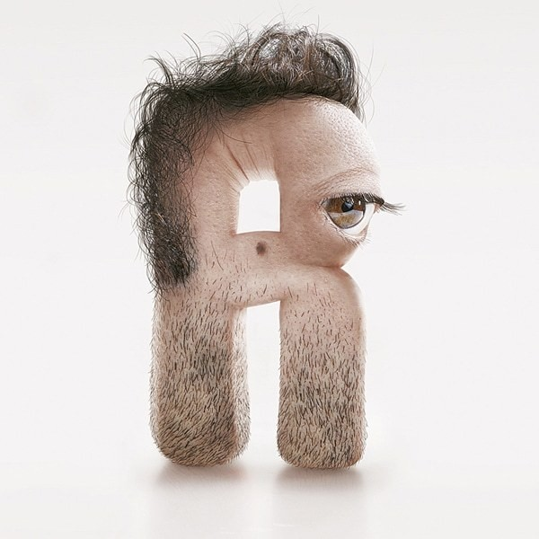 Shocking Typography Series Designed with Human Features