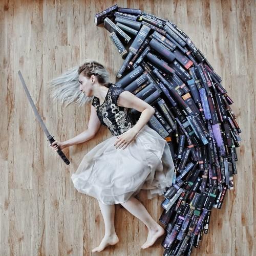 Book Lover Arranges Her Huge Library of Novels Into Imaginative Scenes
