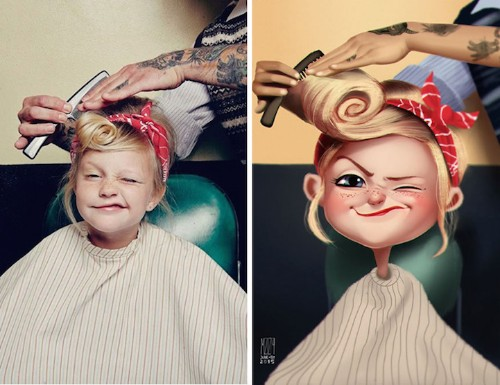 Artist Finds Photos of Random People, Transforms Them into Illustrated Characters