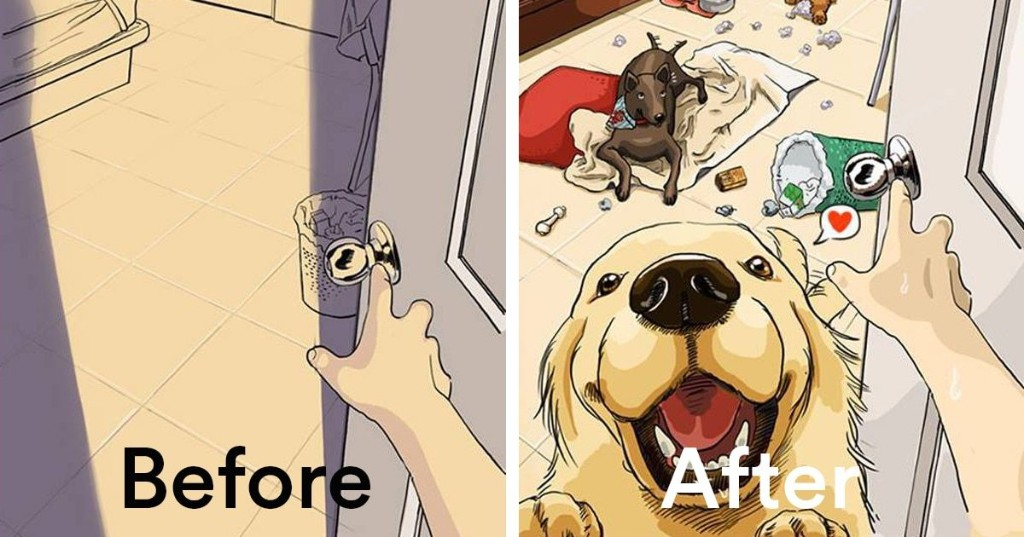 Honest Illustrations Reveal What Life Is Like Before and After You Get a Pet