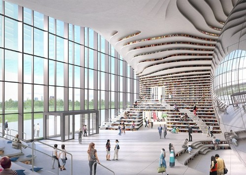 Spectacular Chinese Library Holds 1.2 Million Books within Its Curved Walls