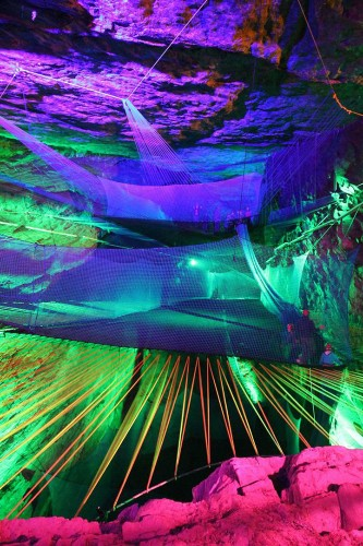 Largest Underground Trampoline Suspended 180 Feet High Inside a Cave
