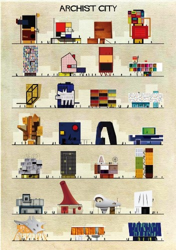 Iconic Artists' Styles Portrayed as Architectural Structures