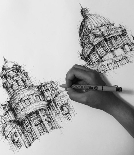 Expressive Ink Sketches Capture the Intricate Details of Italian Architecture