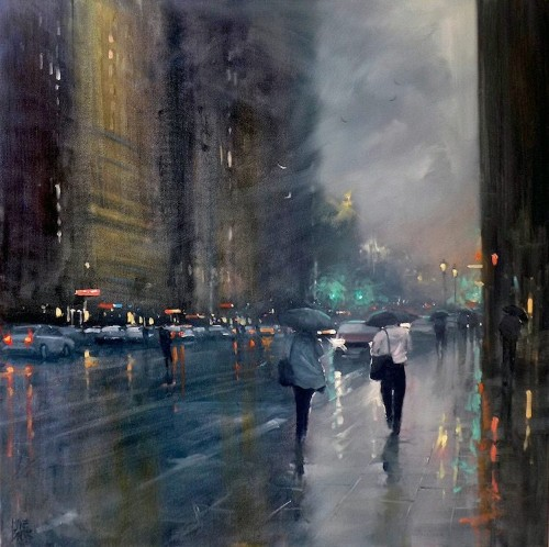 Painter Mike Barr Captures the Effect of Light on Rain-Swept Streets