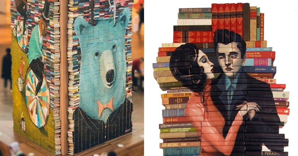 Artist Breathes New Life into Old Books by Turning Them into Stacked Sculptures